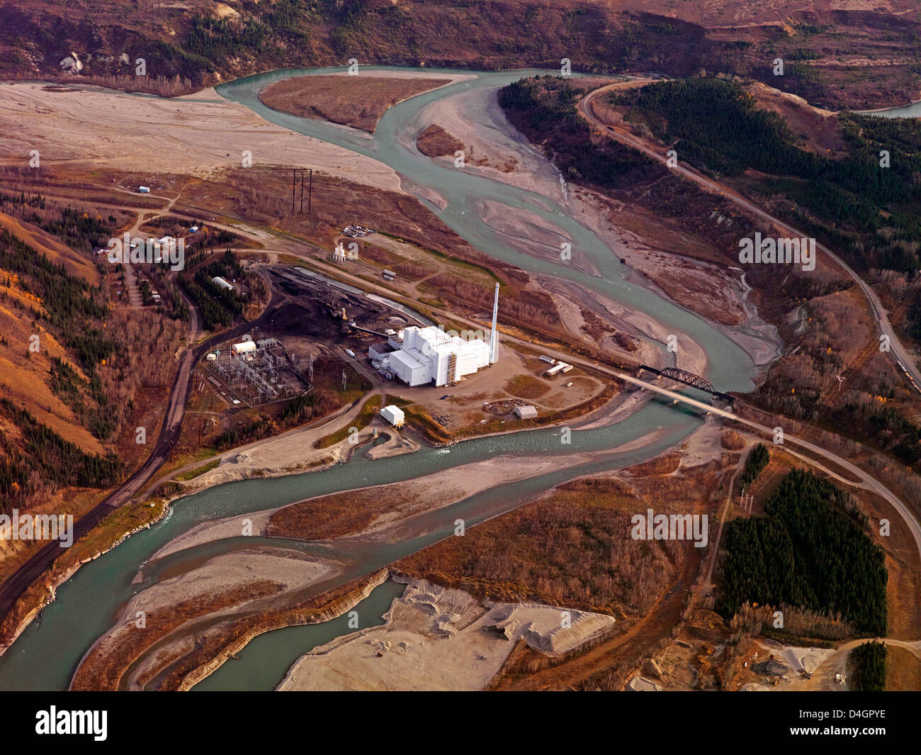 The Healy Clean Coal Power Plant in Alaska, an aerial photo - Stock Image