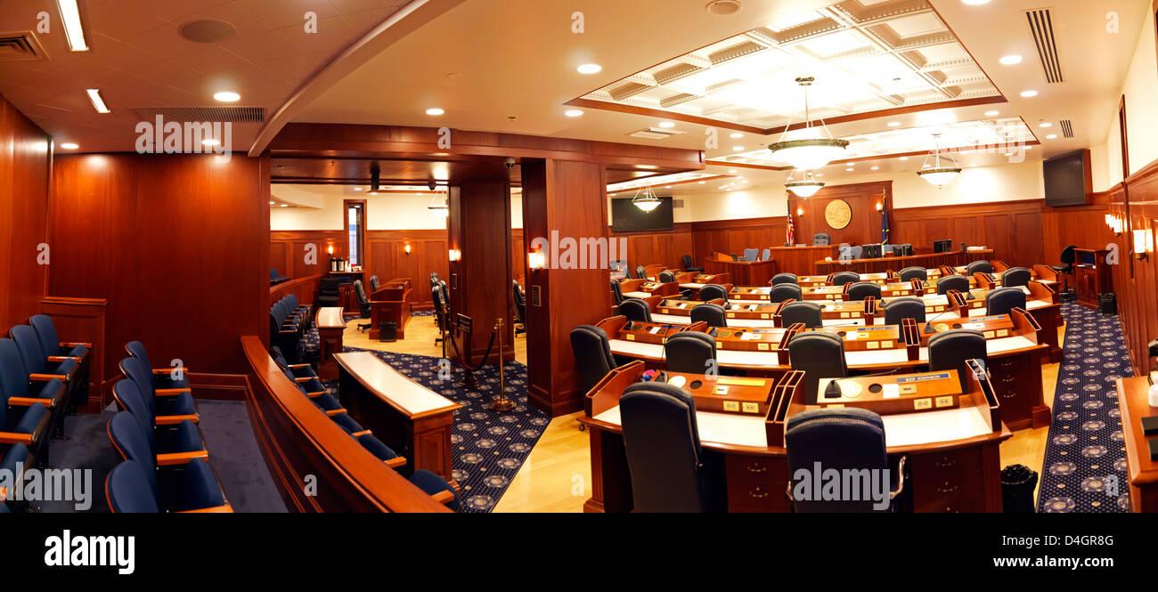 Alaska State House chamber at the Alaska State Capital Building in Juneau Alaska - Stock Image