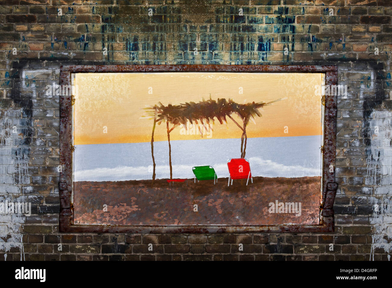 Filthy brick wall with good mood illustration of one beach scene - Stock Image