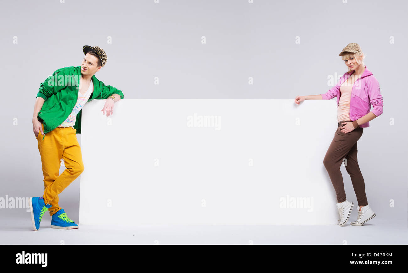 Colorful style of hip-hop happy teenagers - Stock Image