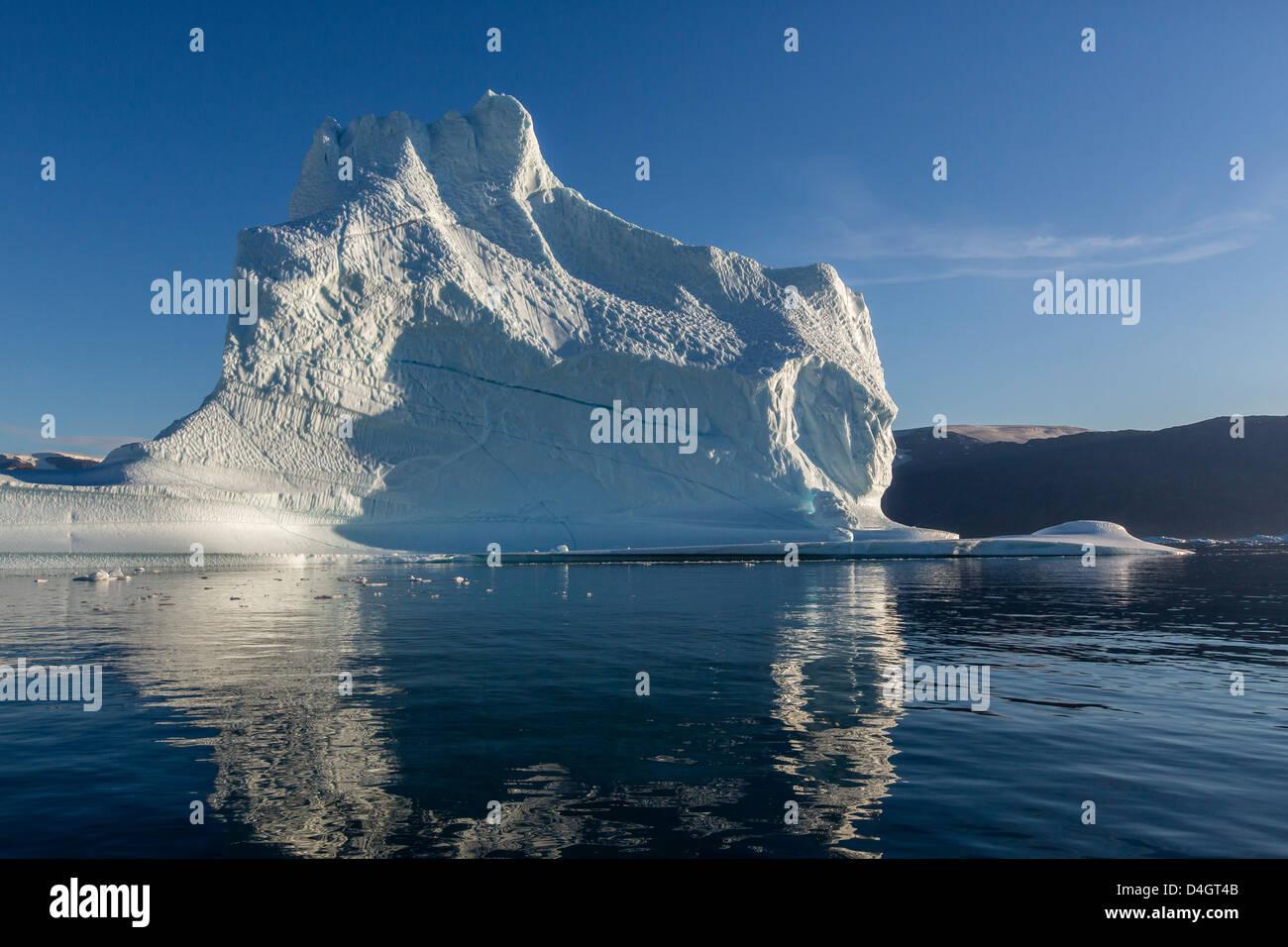 Grounded icebergs, Rode O (Red Island), Scoresbysund, Northeast Greenland, Polar Regions - Stock Image