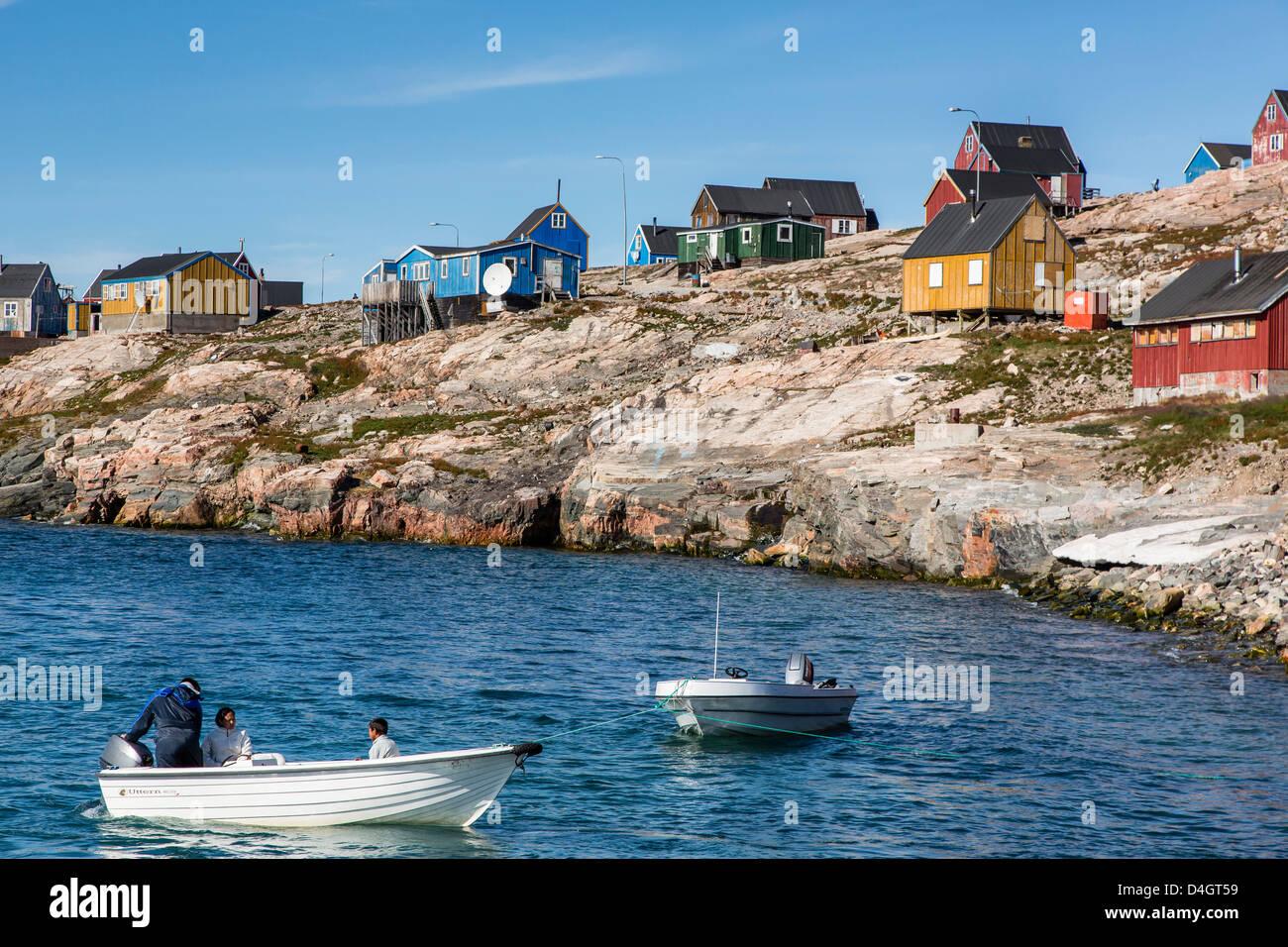Inuit village, Ittoqqortoormiit, Scoresbysund, Northeast Greenland, Polar Regions - Stock Image