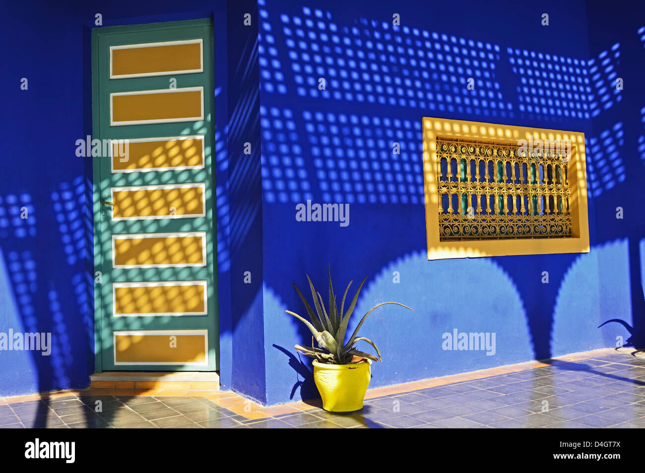 Blue Paintwork In The Majorelle Gardens Marrakesh Morocco