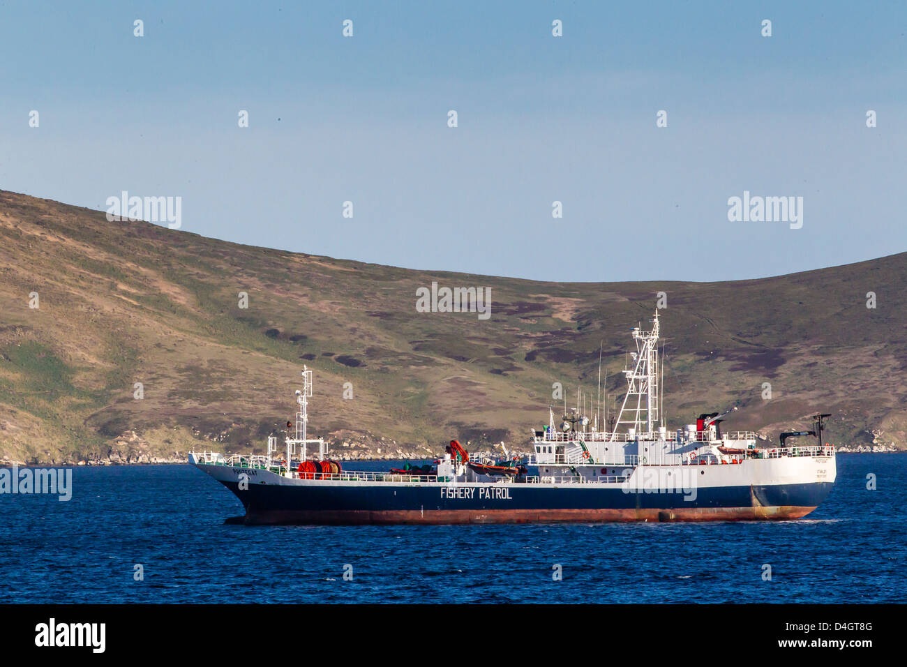 Fishery Patrol ship in the port of Stanley, East Falkland Island, South Atlantic Ocean, South America - Stock Image