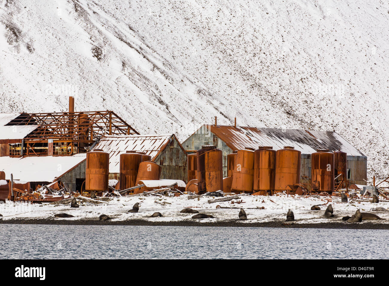 The abandoned Norwegian Whaling Station at Stromness Bay, South Georgia, South Atlantic Ocean, Polar Regions Stock Photo