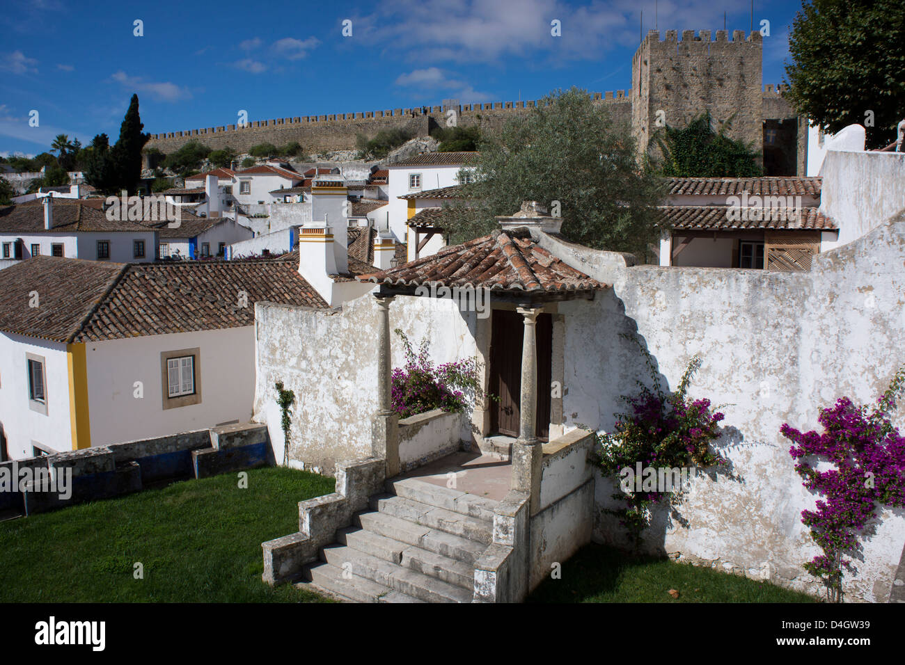 Walled medieval town, declared national monument, Obidos, Estremadura, Portugal - Stock Image