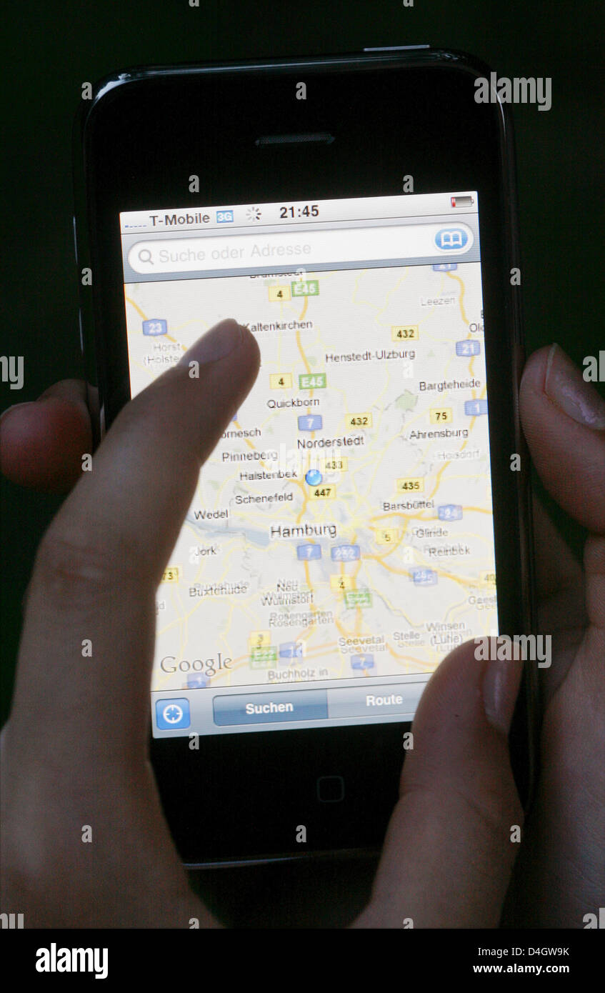 Apple's new iPhone 3G in Hamburg, Germany, 2 July 2008. iPhone 3G will be available at stores in 22 countries from Stock Photo