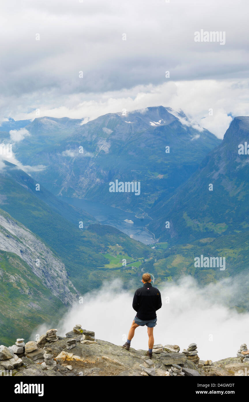 View from Dalsnibba mountain viewpoint, near Geiranger, More og Romsdal, Norway, Scandinavia - Stock Image