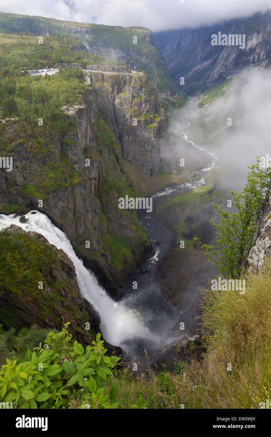 Voringfoss waterfall, near Eidfjord, Hordaland, Norway, Scandinavia - Stock Image