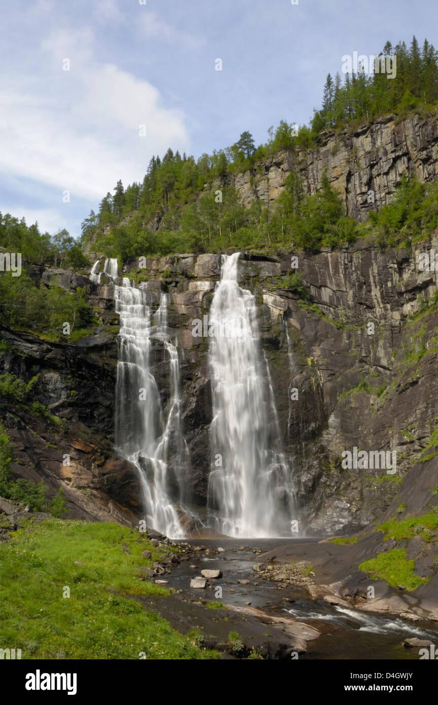 Skjervefossen waterfall, near Voss, Hordaland, Norway, Scandinavia - Stock Image
