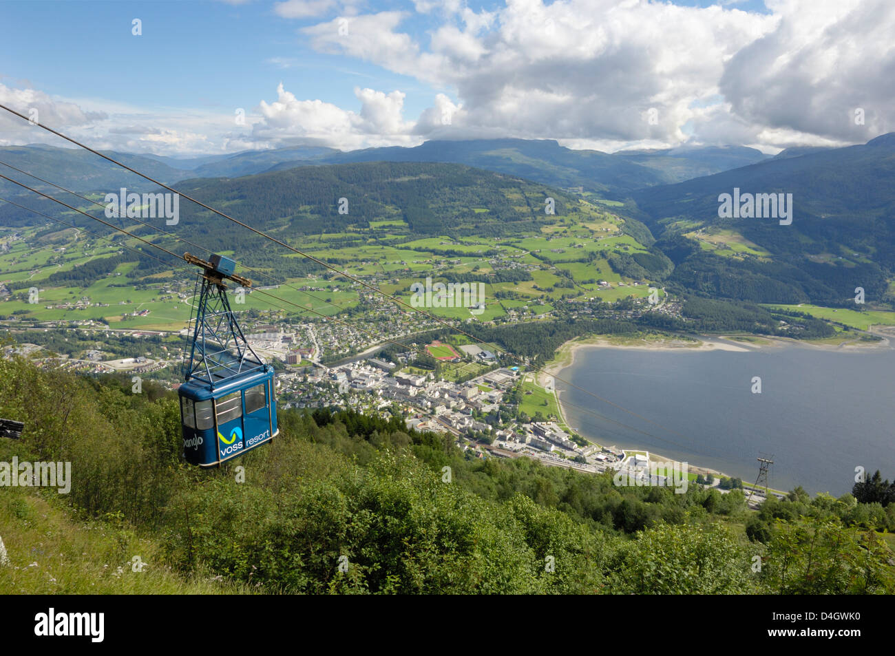 Hangursbahen, cable car to Mount Hangur, Voss, Hordaland, Norway, Scandinavia - Stock Image