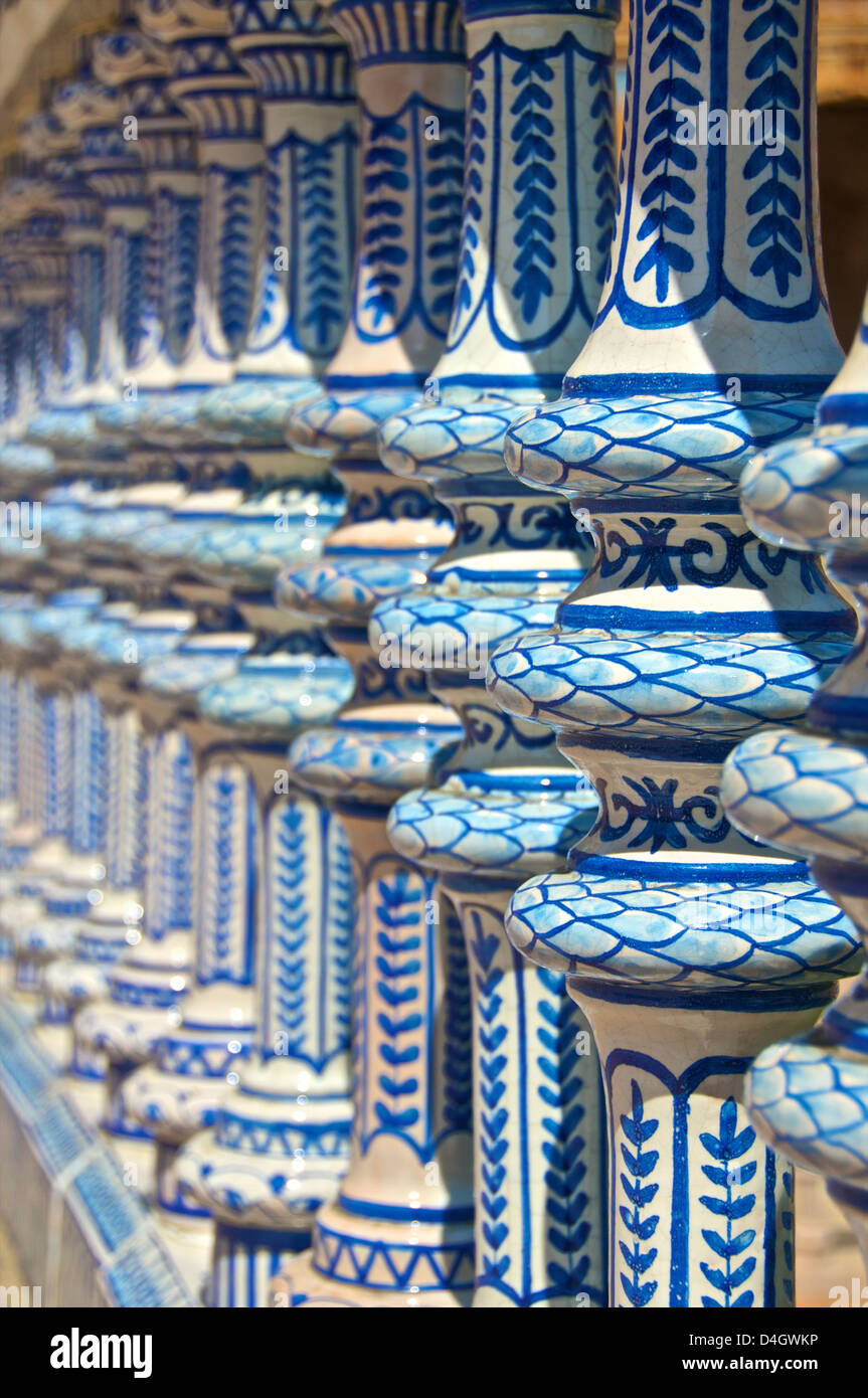 Ceramic decor columns, Plaza de Espana, Seville, Andalusia, Spain - Stock Image