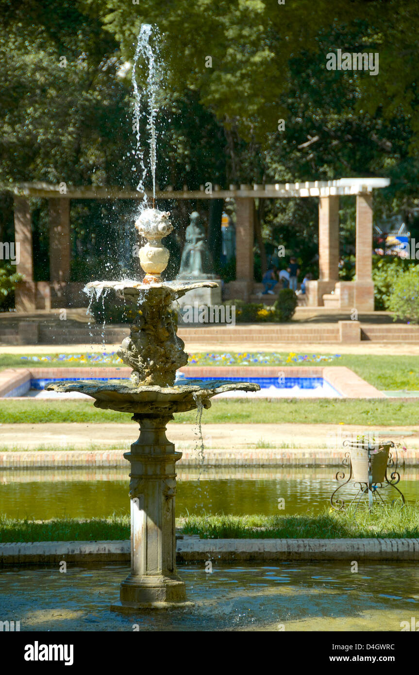 Fountain, Maria Luisa Park, Seville, Andalusia, Spain - Stock Image