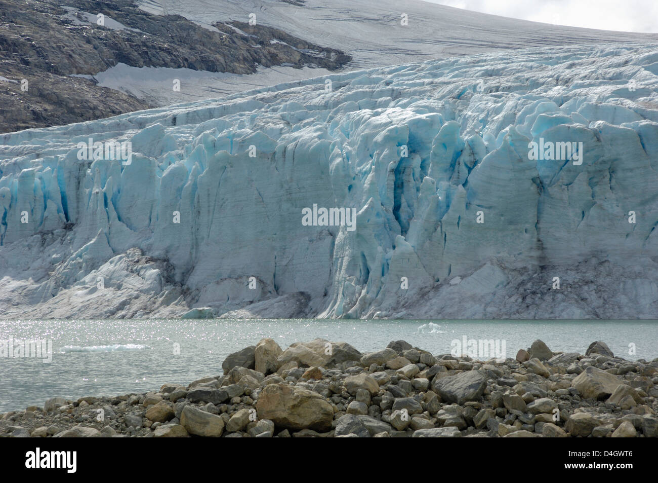 Austdalsbreen Glacier, Styggevatnet Lake, Jostedalsbreen Icecap, Sogn og Fjordane, Norway, Scandinavia - Stock Image