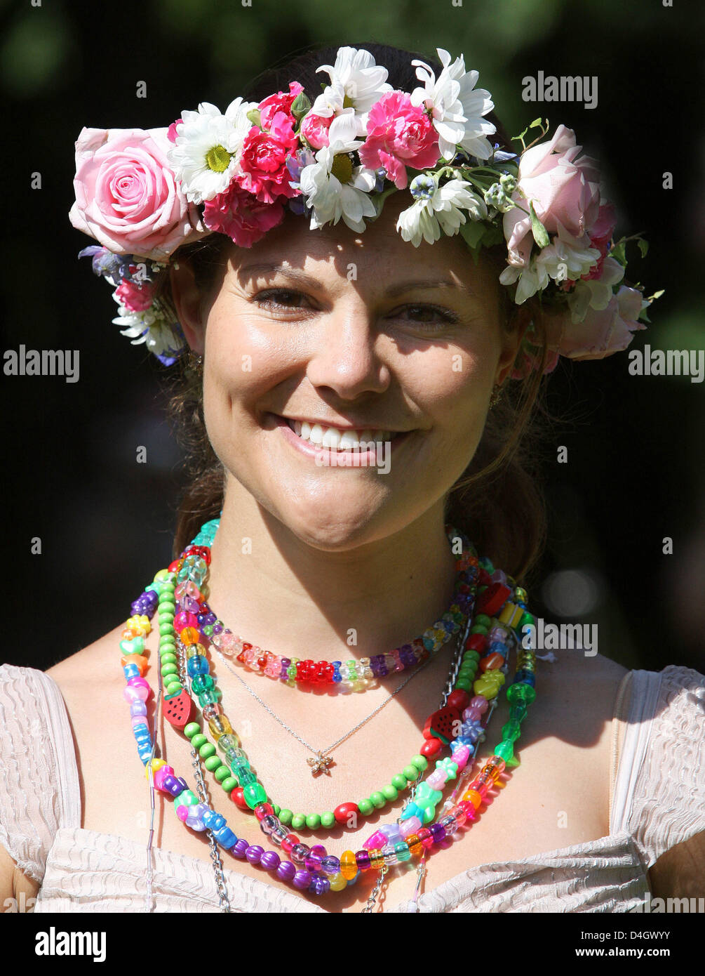 Crown Princess Victoria of Sweden wears a floral wreath celebrating her 31th birthday at the royal summer house - Stock Image
