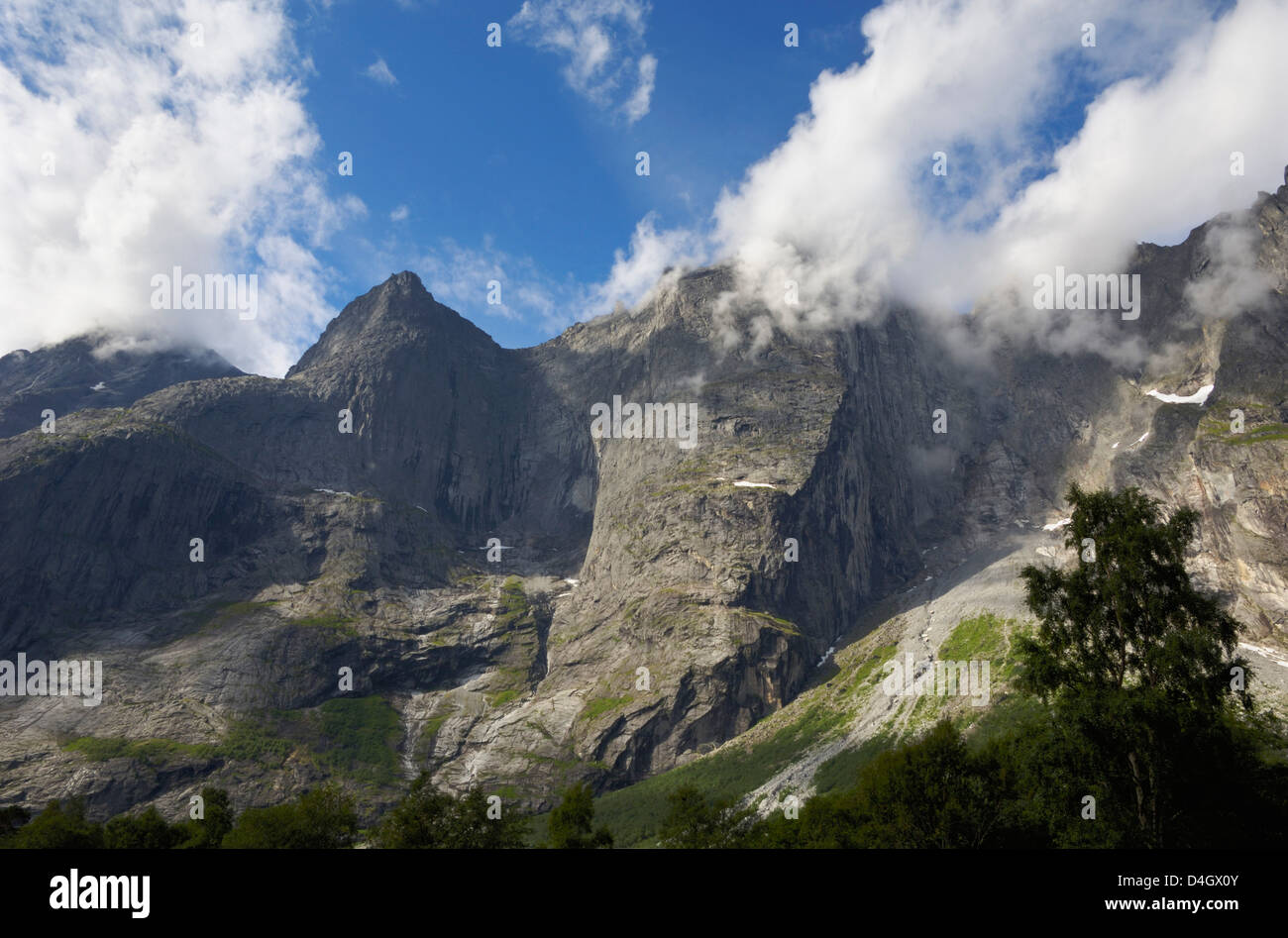 Trollveggen, Troll Wall, sheer mountain cliffs, More og Romsdal, Norway, Scandinavia - Stock Image