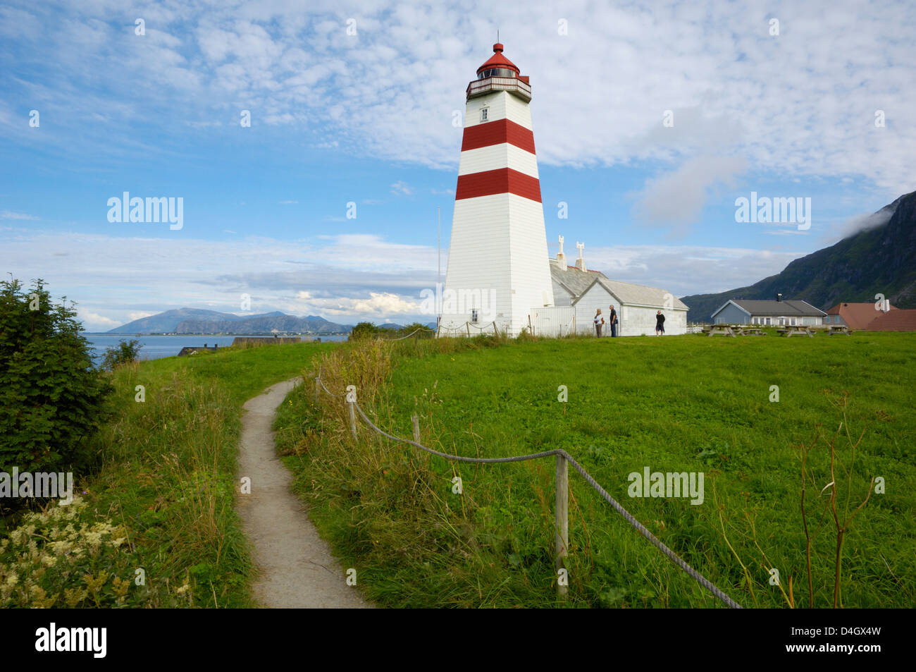 Alnes Lighthouse, Godoya, near Alesund, More og Romsdal, Norway, Scandinavia - Stock Image