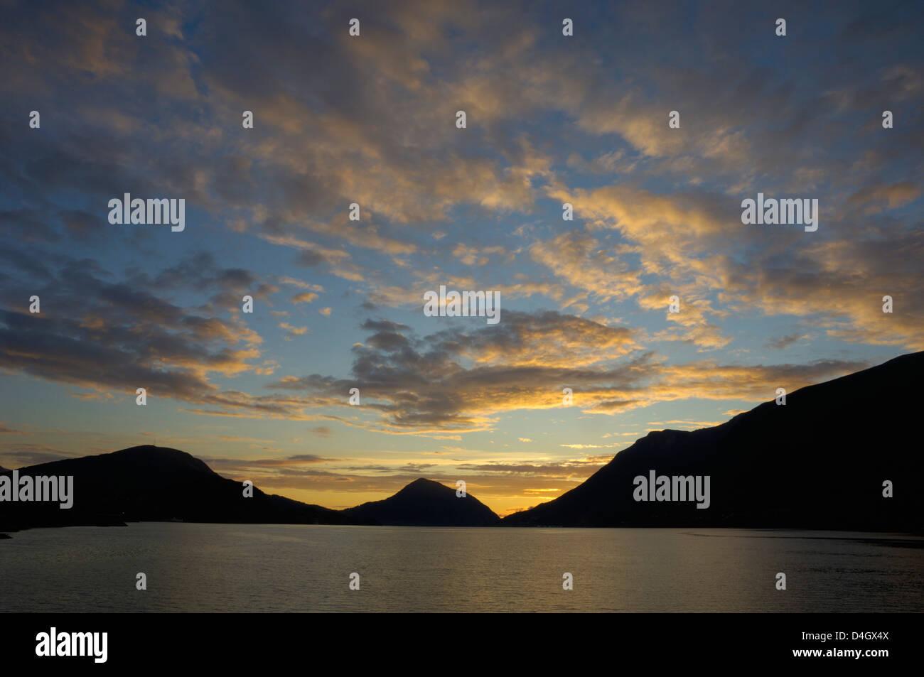 Sunset over Orstafjorden, Orsta, More og Romsdal, Norway, Scandinavia - Stock Image