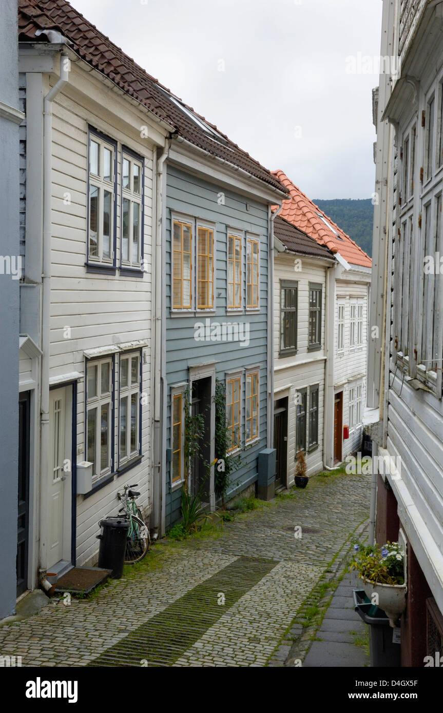 Wooden buildings, Knosesmauet, Bergen, Hordaland, Norway, Scandinavia - Stock Image