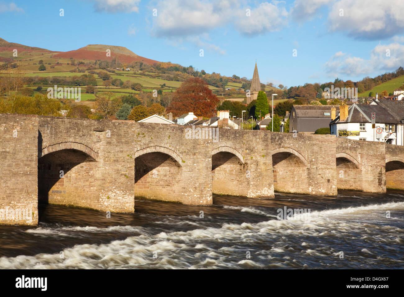 Bridge over River Usk, Crickhowell, Powys, Wales, UK - Stock Image