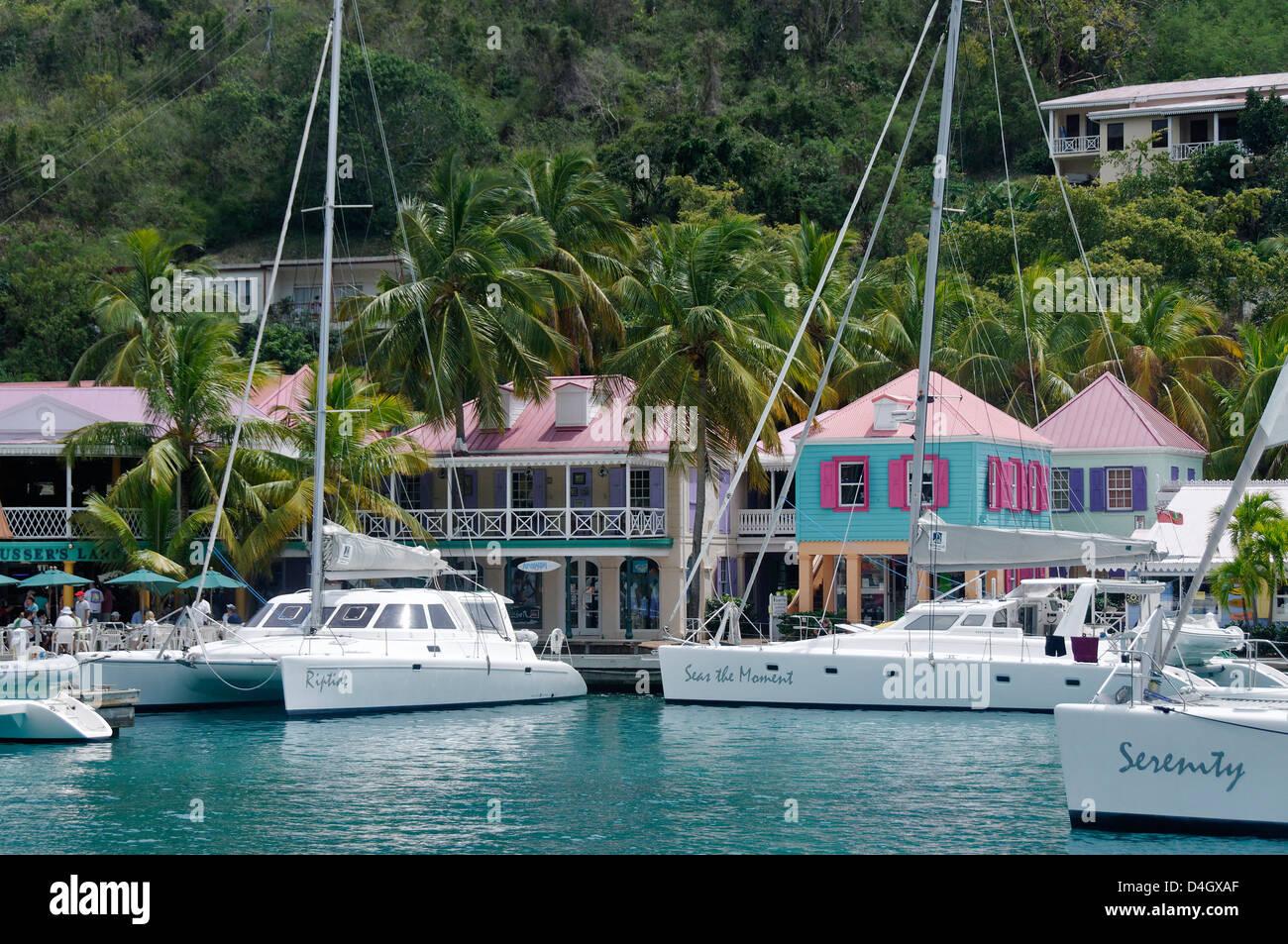 Great Harbour, Jost Van Dyke, the smallest of the four main islands of the British Virgin Islands, West Indies, - Stock Image