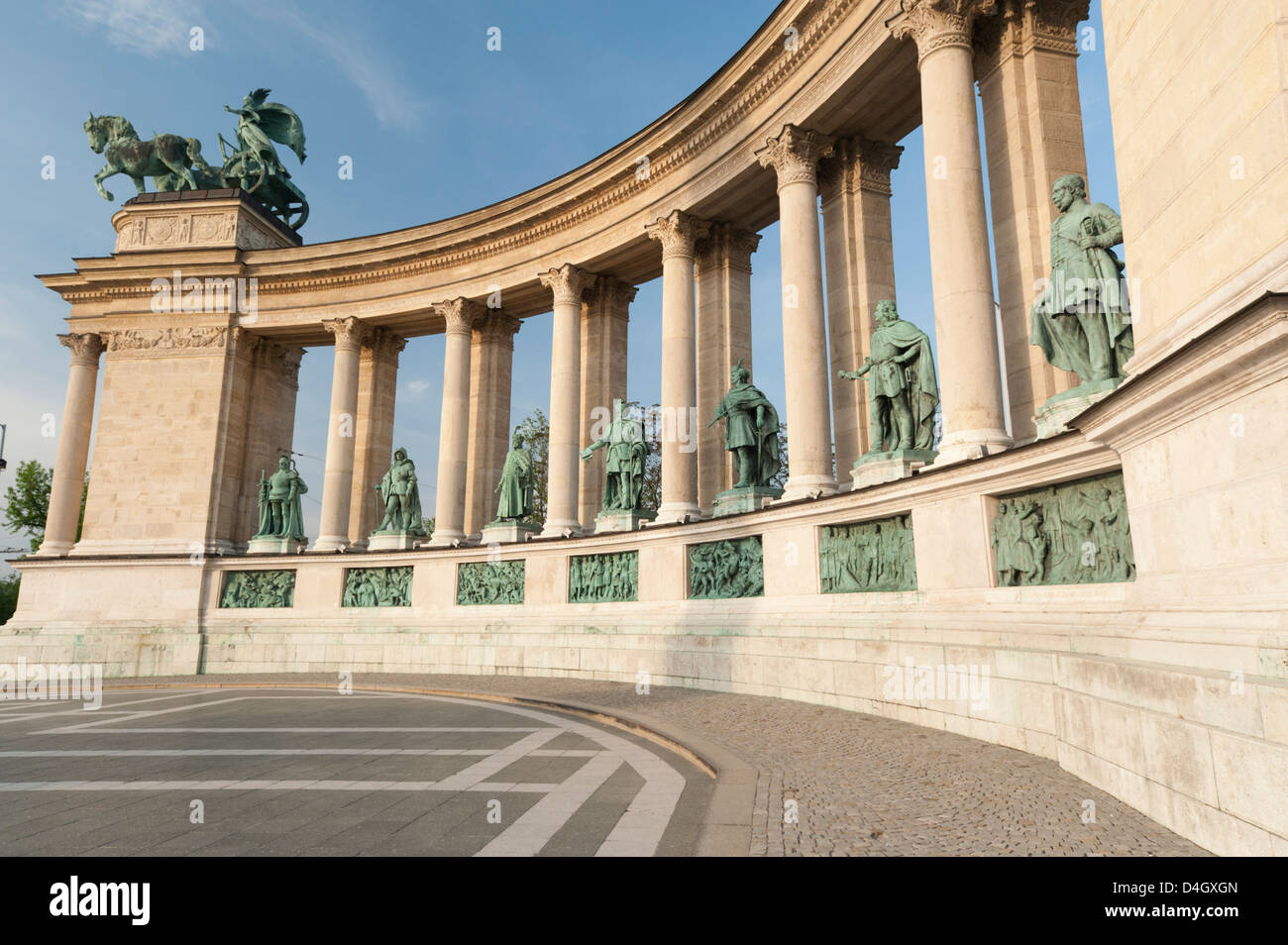 Statues of Hungarian historical leaders, Millennium Monument, Hosok Tere (Heroes Square), Budapest, Hungary - Stock Image