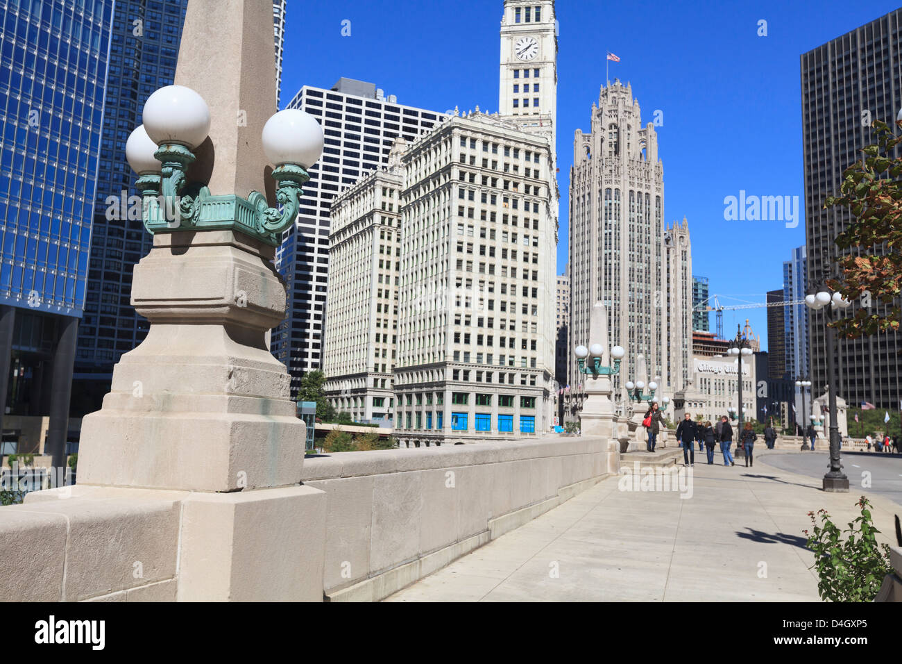 Chicago Riverwalk on West Wacker Drive with Trump Tower, Wrigley Building and Tribune Tower, Chicago, Illinois, - Stock Image