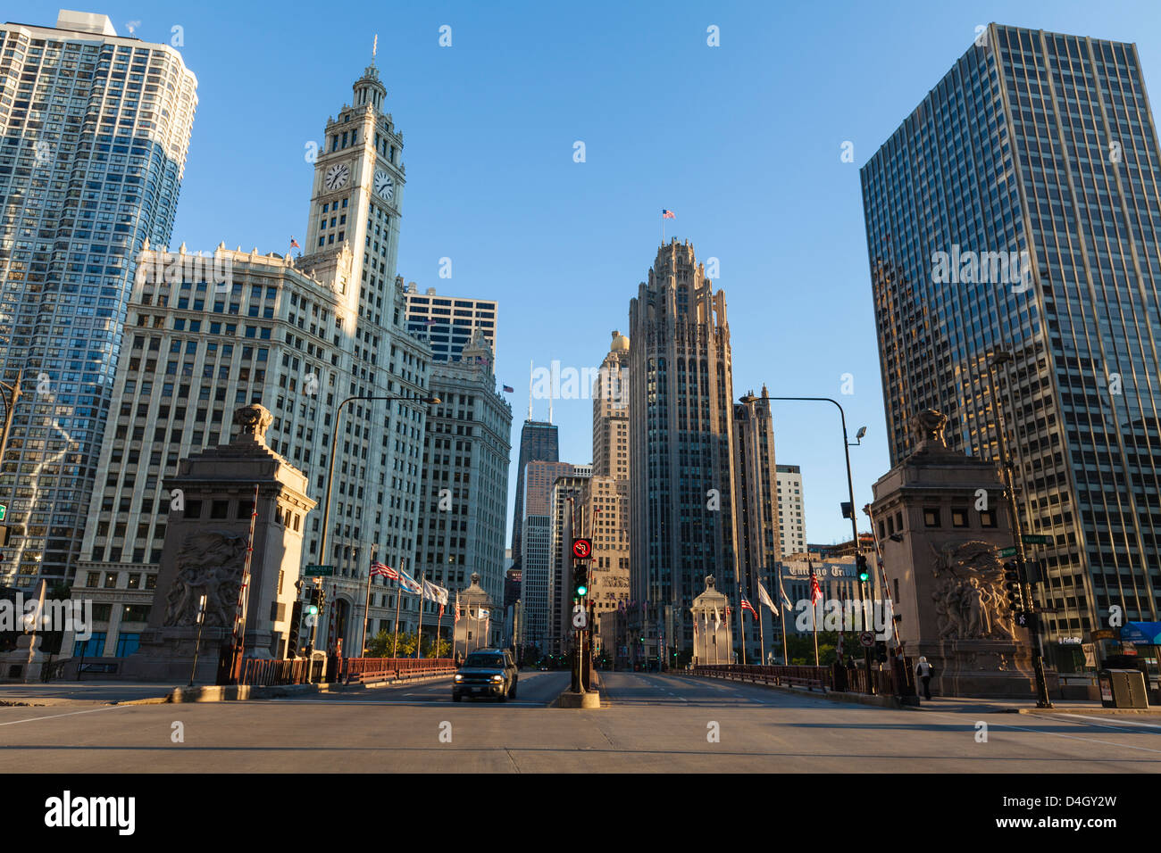 DuSable Bridge looking up North Michigan Avenue, Chicago, Illinois, USA - Stock Image
