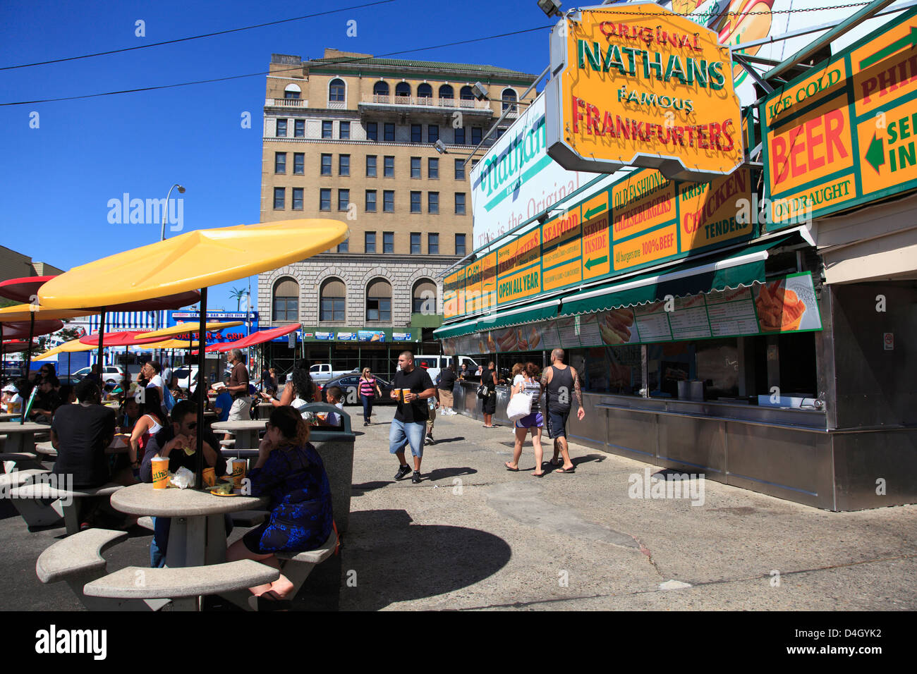 Nathans Famous Hot Dogs, Coney Island, Brooklyn, New York City, USA - Stock Image