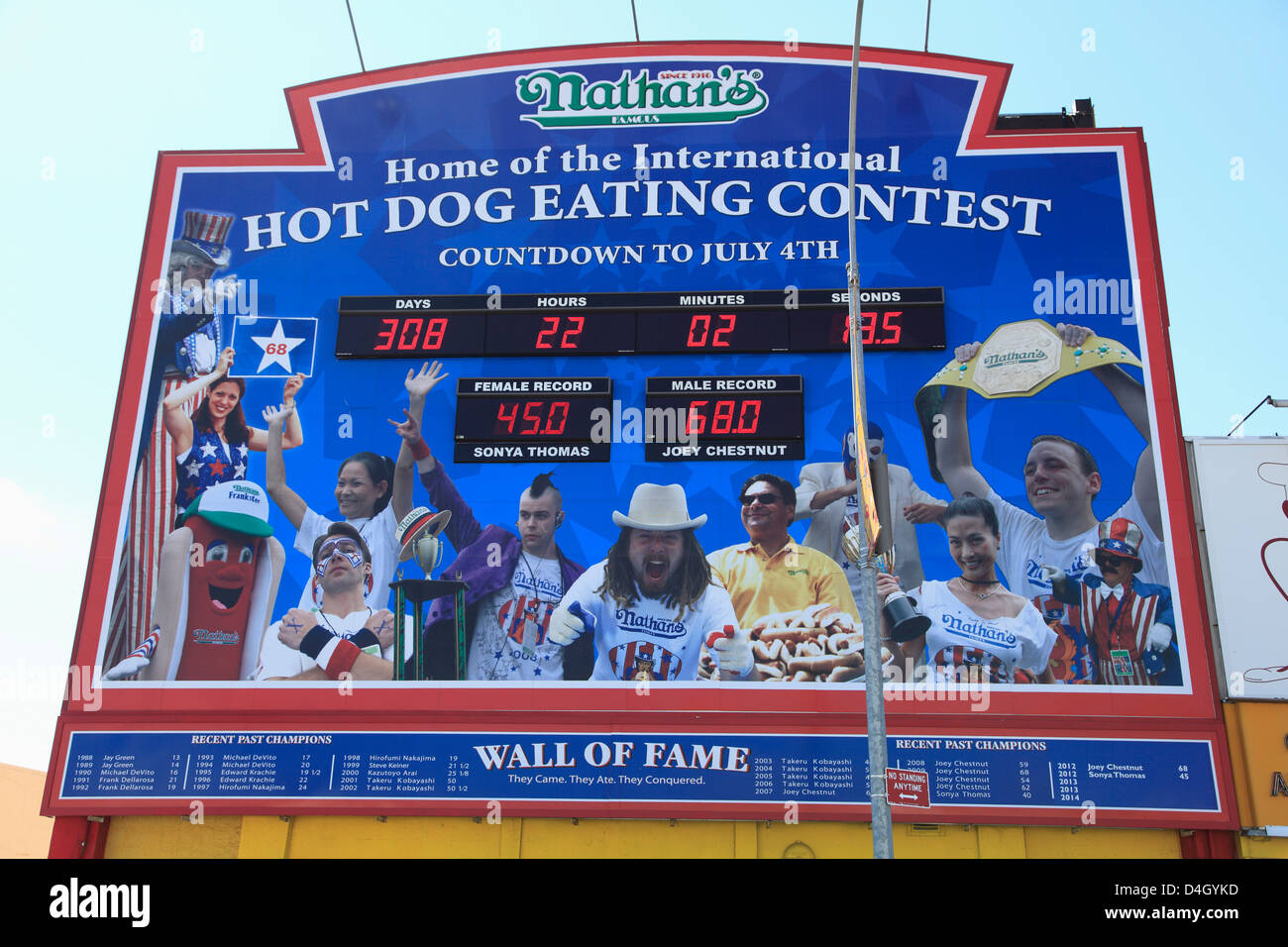 Hot Dog Eating Contest, Wall of Fame, Nathans Famous Hot Dogs, Coney Island, Brooklyn, New York City, USA - Stock Image