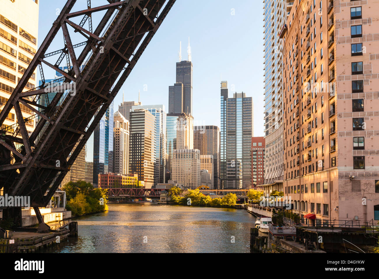 Chicago River and the West Loop area, Willis Tower, Chicago, Illinois, USA Stock Photo
