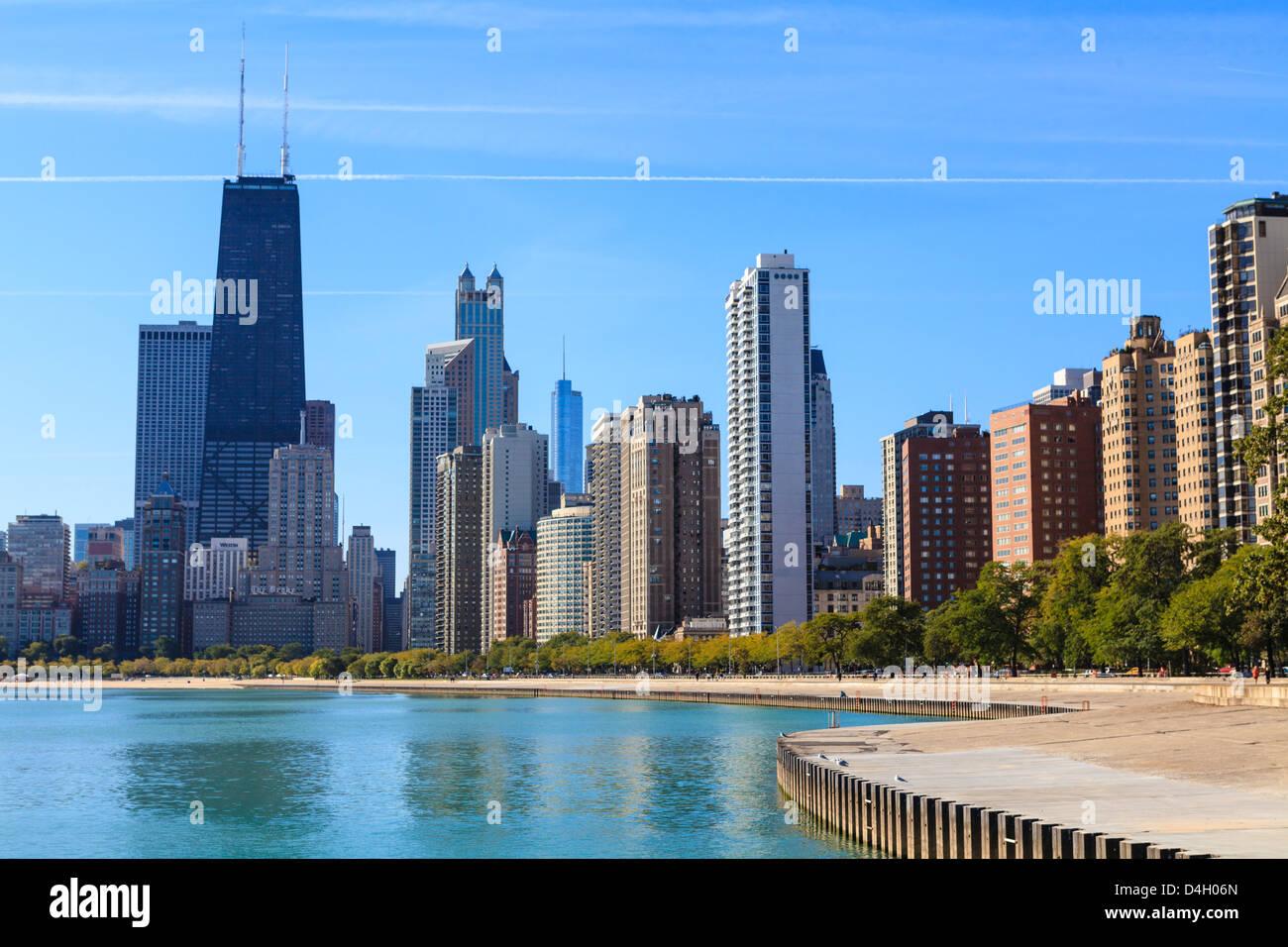 Chicago cityscape from North Avenue Beach, John Hancock Center on the left, Chicago, Illinois, USA - Stock Image
