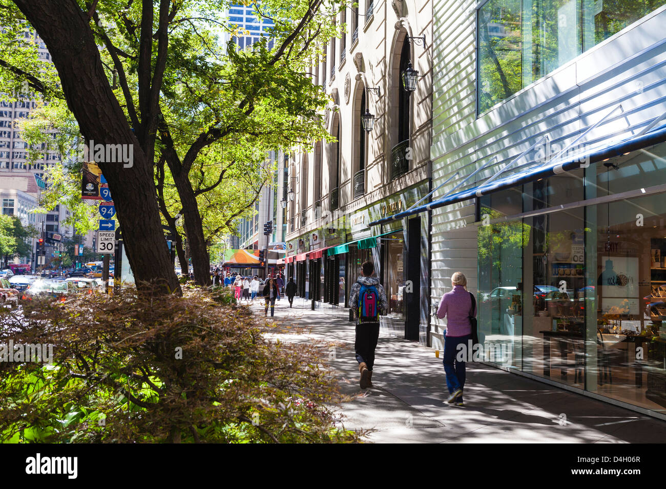 Stores on North Michigan Avenue's Magnificent Mile, Chicago's most fashionable shopping street, Chicago, - Stock Image