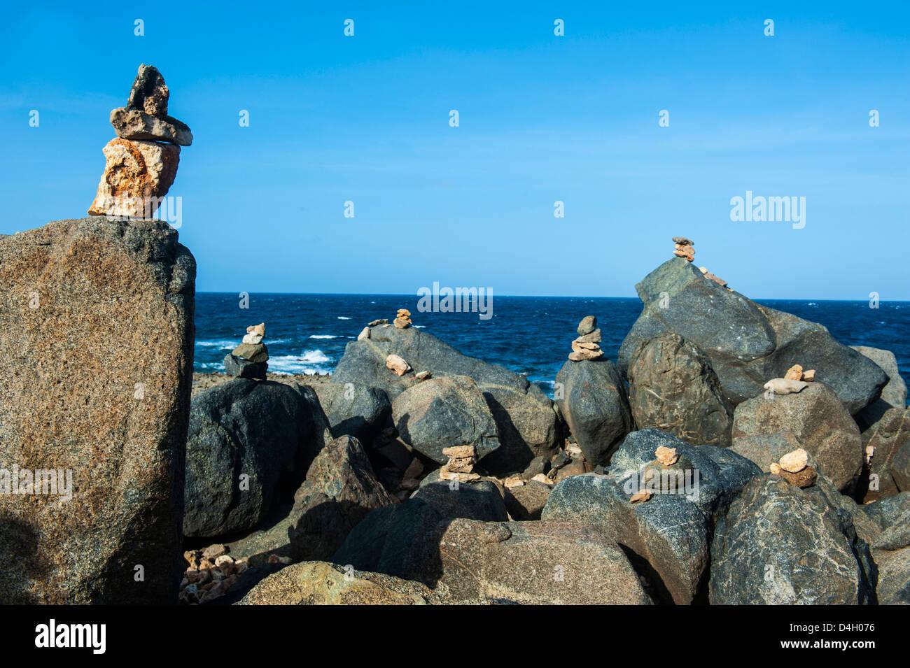 Stone set up on shore, Aruba, ABC Islands, Netherlands Antilles, Caribbean - Stock Image