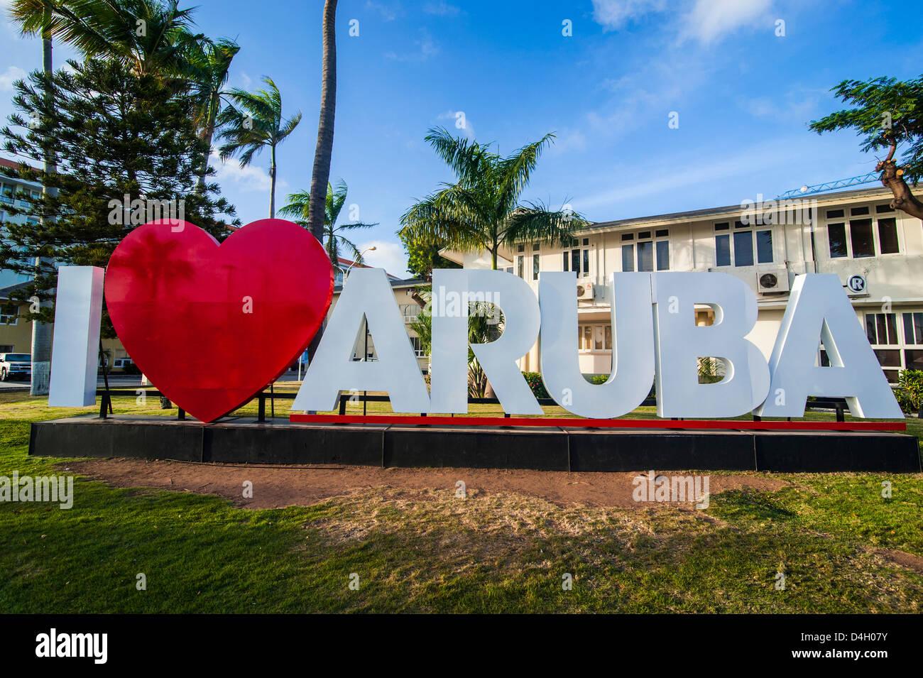I love aruba sign in downtown Oranjestad, capital of Aruba, ABC Islands, Netherlands Antilles, Caribbean - Stock Image