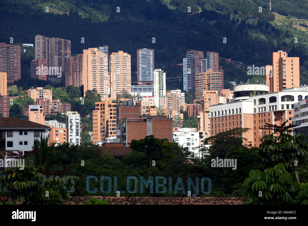 View over the exclusive area of Medellin, El Pobldo, Colombia, South America - Stock Image