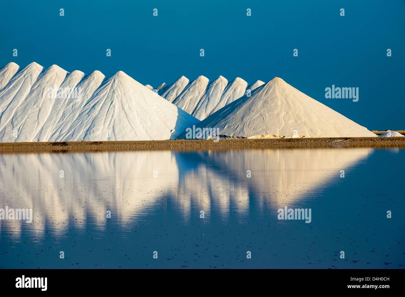 Saline plains, a salt mine in Bonaire, ABC Islands, Netherlands Antilles, Caribbean - Stock Image
