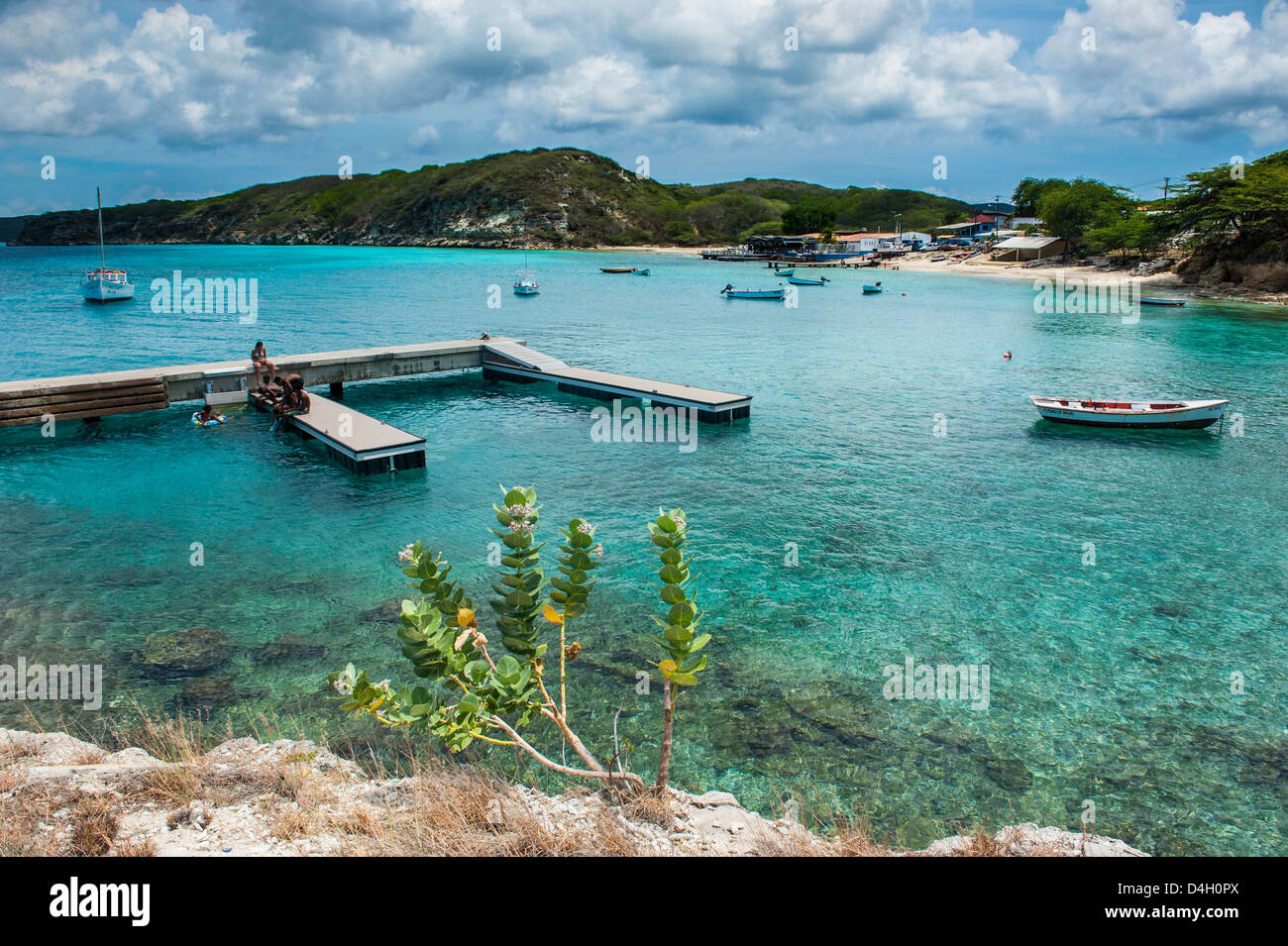 Bay of Kleine St. Michel in Curacao, ABC Islands, Netherlands Antilles, Caribbean - Stock Image