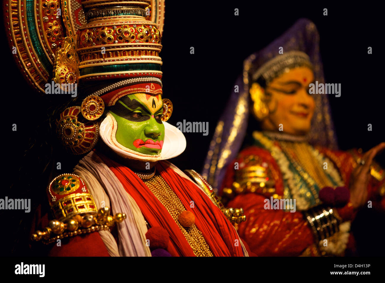 Spectacle of Kutiyattam, Indian theater in Kochi, Kerala, India - Stock Image