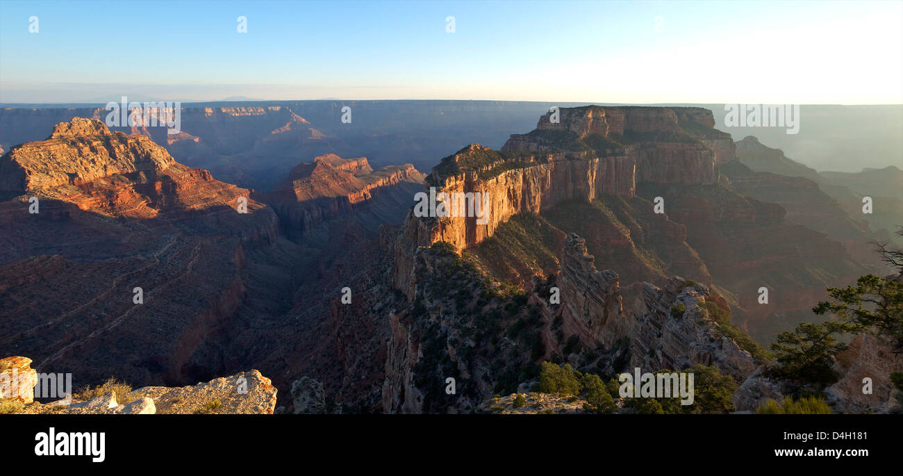 Panoramic in late evening from Cape Royal, North Rim, Grand Canyon National Park, UNESCO World Heritage Site, Arizona, - Stock Image