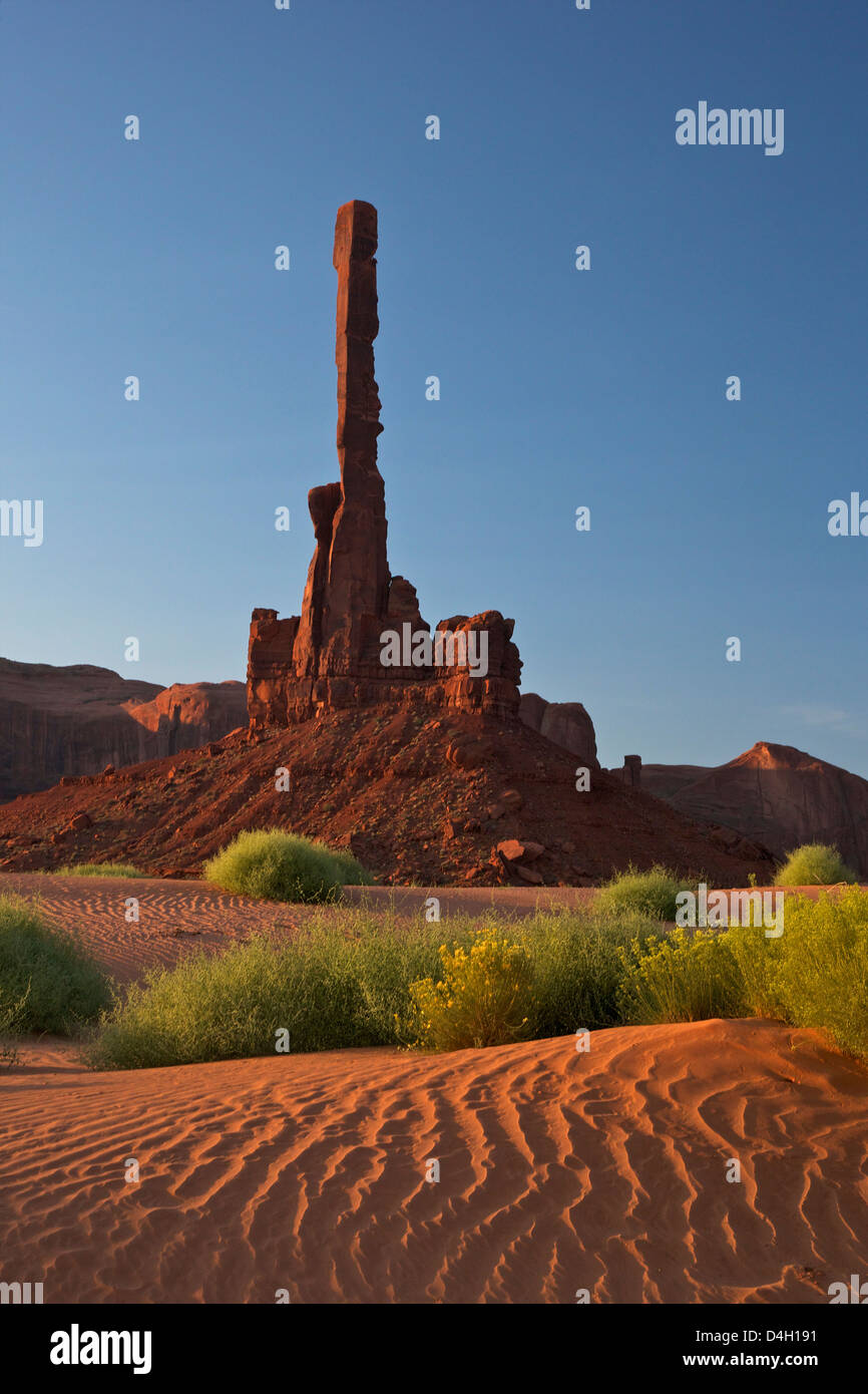 Totem Pole at dawn, Monument Valley Navajo Tribal Park, Utah, USA - Stock Image