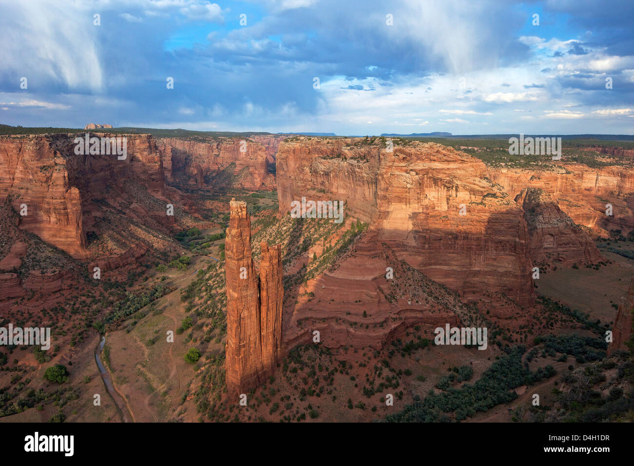 Spider Rock from Spider Rock Overlook, Canyon de Chelly National Monument, Arizona, USA - Stock Image