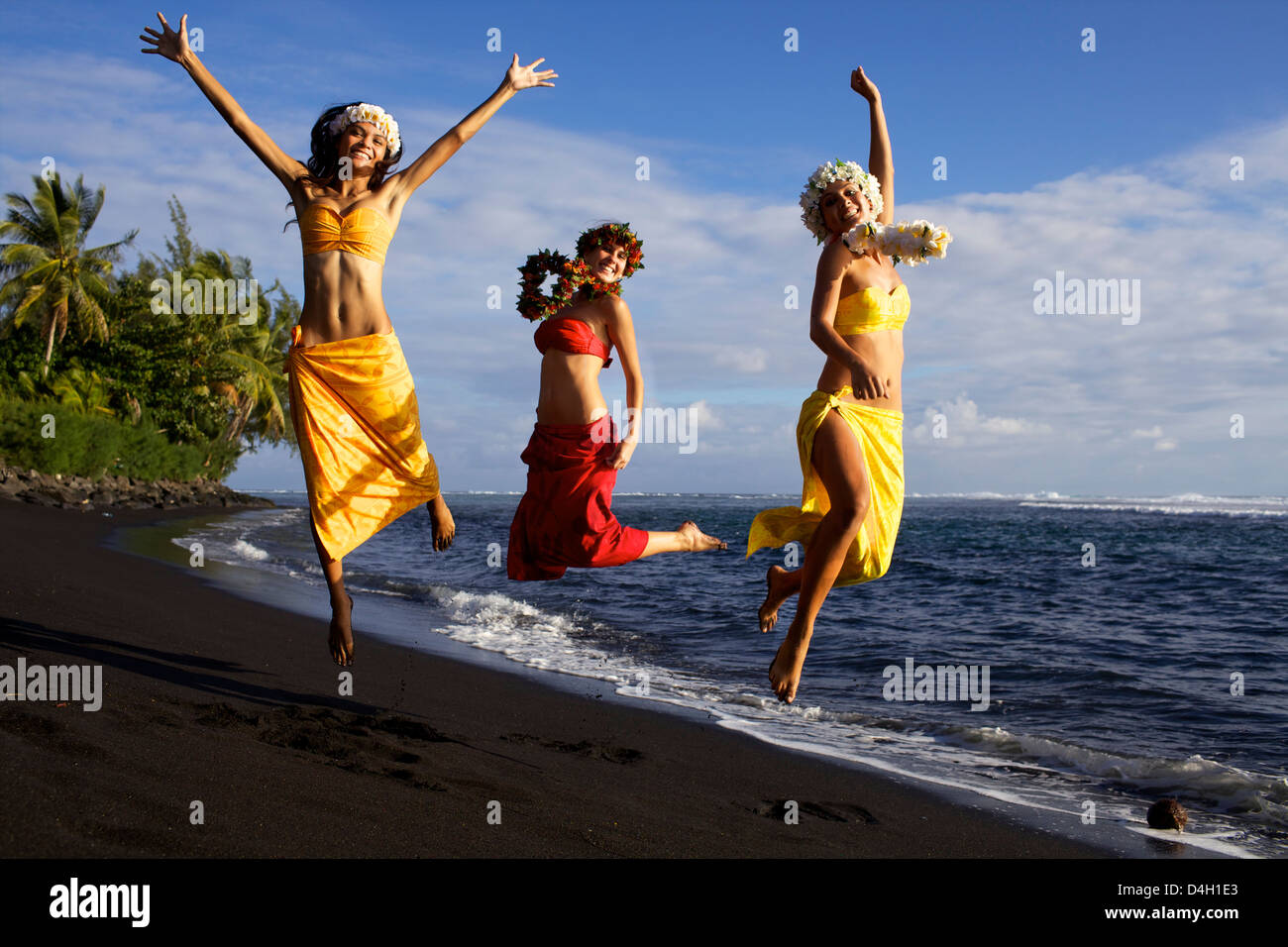Marine and friends on the west coast beach of Tahiti, in Punauia, Society Islands, French Polynesia Islands Stock Photo