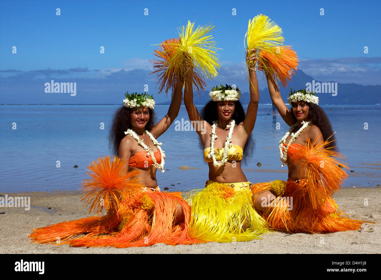 Some vahines from the Tahiti ora troupe, French Polynesia Islands - Stock Image