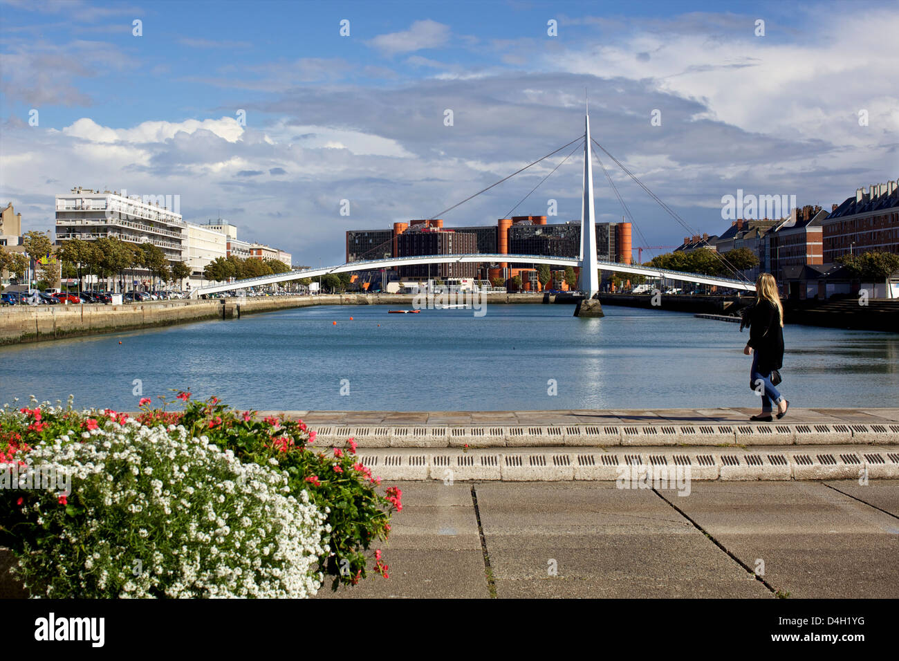 View over the new Passerelle, city center Le Havre, Normandy, France - Stock Image