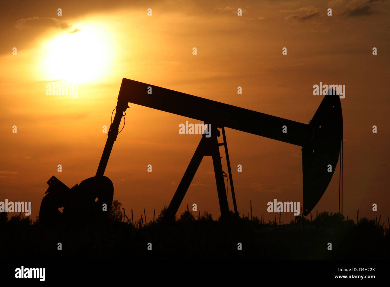 The sun sets behind a pumpjack-type oil pump near Emlichheim, County Bentheim, Germany, 28 July 2008. Since 60 years Kassel-based energy provider 'Wintershall' has been producing oil in the border region to the Netherlands. 150,000 tons of oil are conveyed per year. Photo: Uwe Zucchi Stock Photo