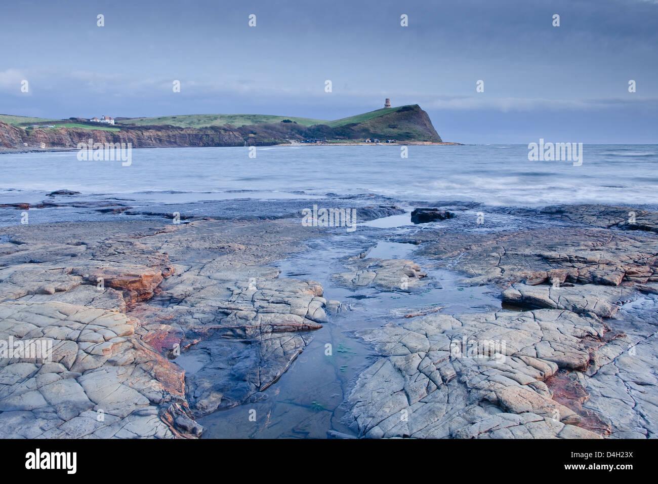 Kimmeridge Bay on the Dorset coast at sunset, Jurassic Coast, UNESCO World Heritage Site, Dorset, England, UK - Stock Image