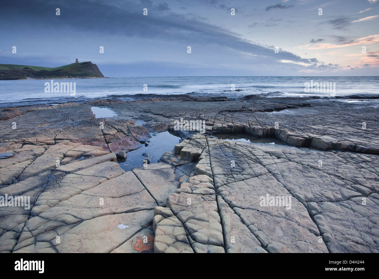 Kimmeridge Bay on the Dorset coast at sunset, Jurassic Coast, UNESCO World Heritage Site, Dorset, England, UK - Stock Image