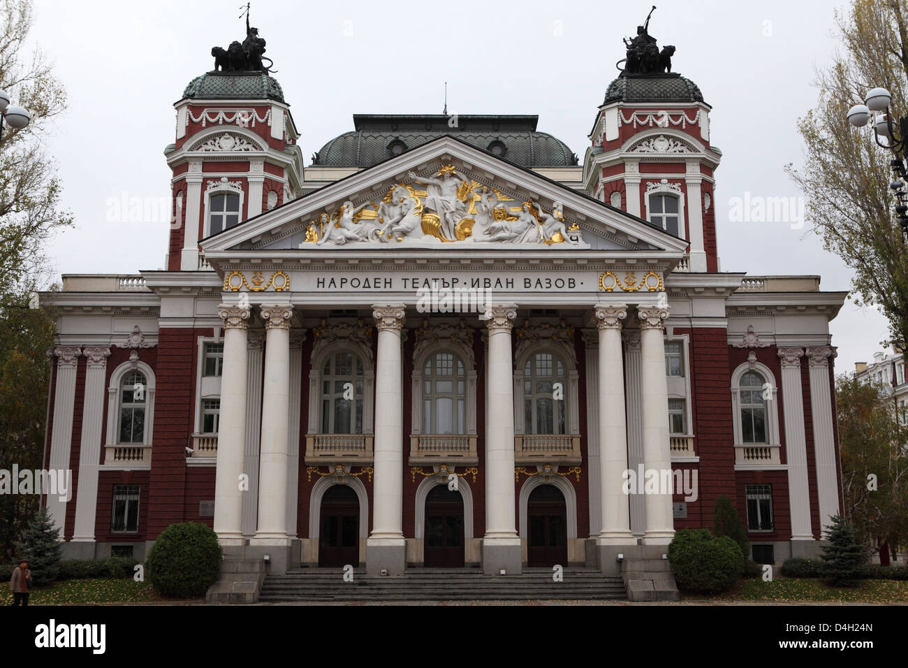 The Ivan Vazov National Theatre, a Neo-Classical building designed by Hermann Helmer and Ferdinand Fellner, Sofia, - Stock Image