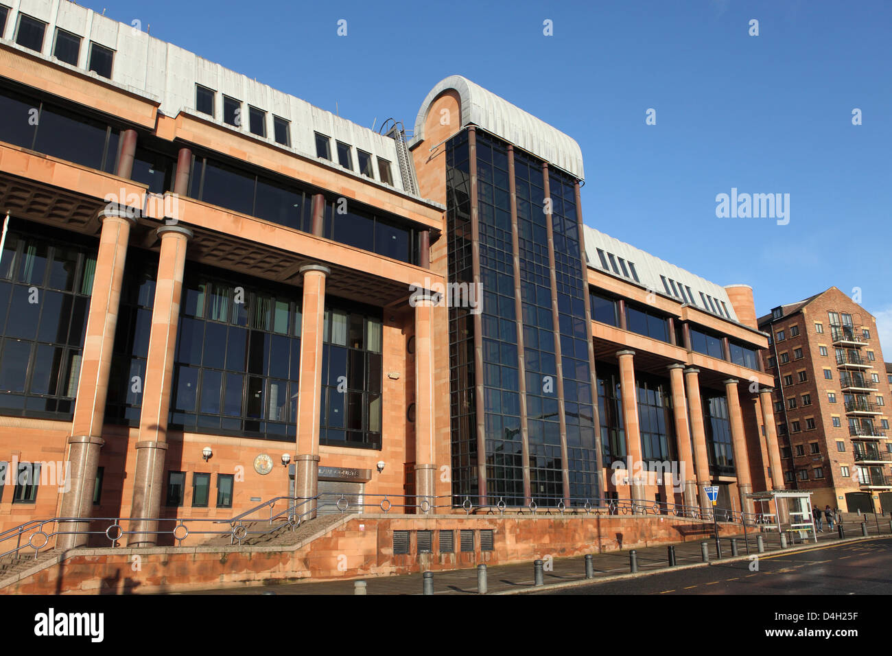 Newcastle Combined Court Centre, Post Modern Classical law courts by Napper Architects, Newcastle, Tyne and Wear, - Stock Image